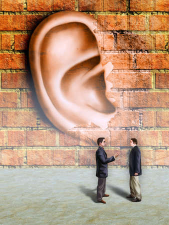to listen: Bussinessmen conversation being spied by a giant ear materializing in a wall. Digital illustration.