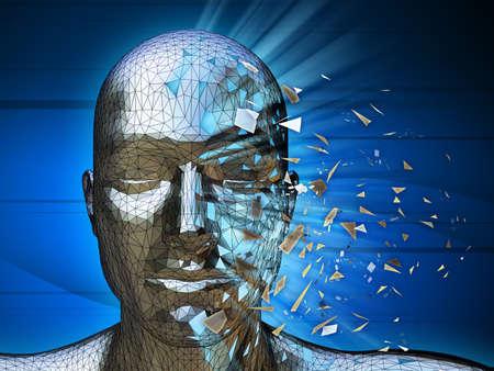 Una identidad digital desintegrarse en pedazos. Ilustración digital.  Foto de archivo
