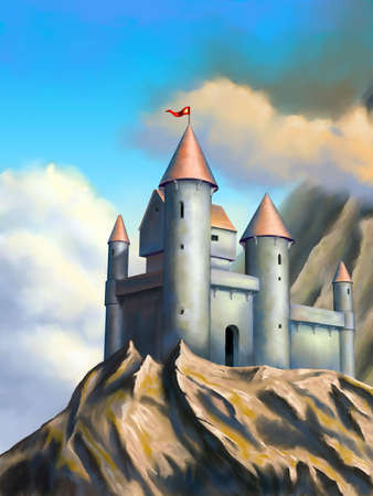 Medieval castle in an imaginary landscape. Original digital illustration. Banco de Imagens