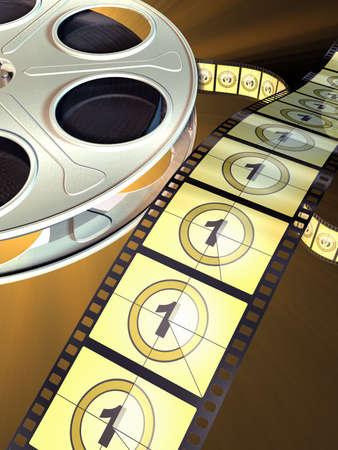 Movie film reel on dark background. Countdown shown on celluloid. Digital illustration. illustration