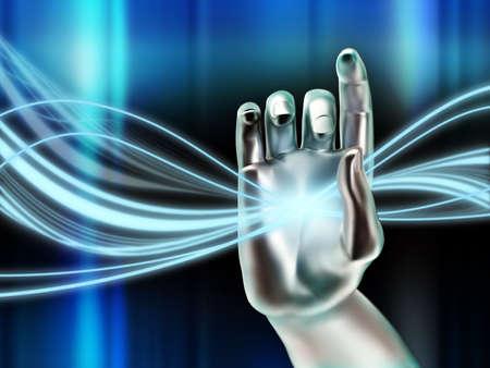 manipulating: Cybernetic hand manipulating a glowing digital stream. Digital illustration. Stock Photo