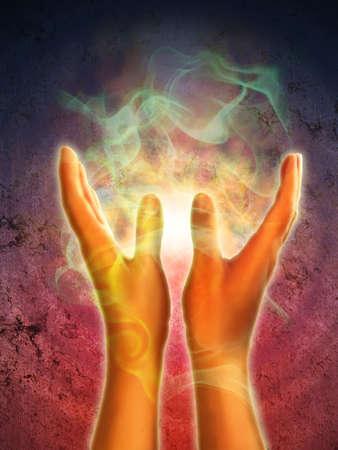 energy healing: Generazione di energia mistica da aprire le mani. Illustrazione digitale.