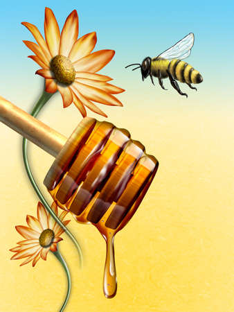 Honey dripping from an honey dipper. Bee and flower on background. Digital illustration.
