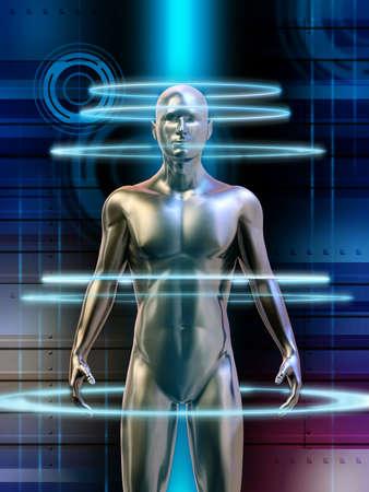 Humanoider Roboter mit glühenden Energie kreist um seinen Körper. Digitale Illustration.