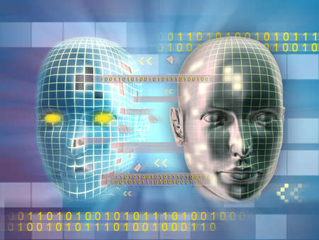 thinking machine: Clonaci�n de alguien identidad en l�nea. Ilustraci�n digital.