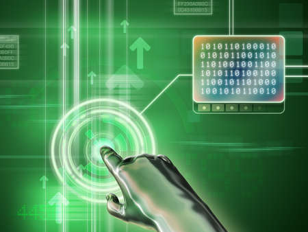 decode: Cybernetic hand interacting with a digital interface. Digital illustration. Stock Photo