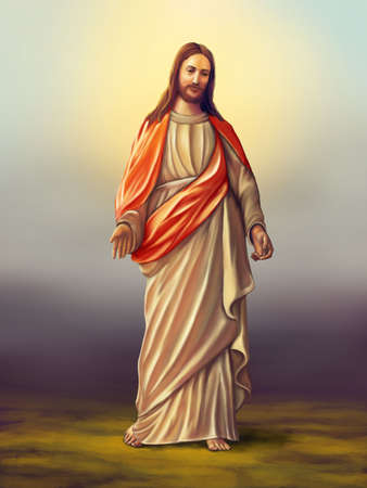 eternal life: Jesus Christ of Nazareth. Original digital illustration