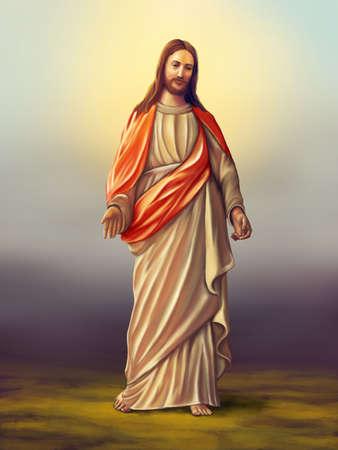 Jezus: Jezus Chrystus Nazaretu. Oryginalny ilustracji cyfrowe Zdjęcie Seryjne