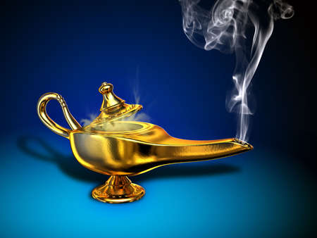 A magical lamp with white smoke. Digital illustration. illustration