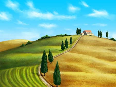 chianti: Farmland in Tuscany, Italy. Original digital illustration.