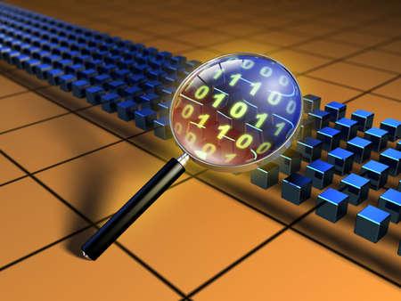 snoop: Magnifying glass inspecting a code stream. Digital illustration.