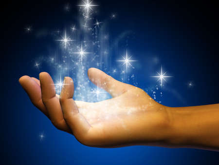 hand of god: Stardust flowing from an open hand. Digital illustration. Stock Photo