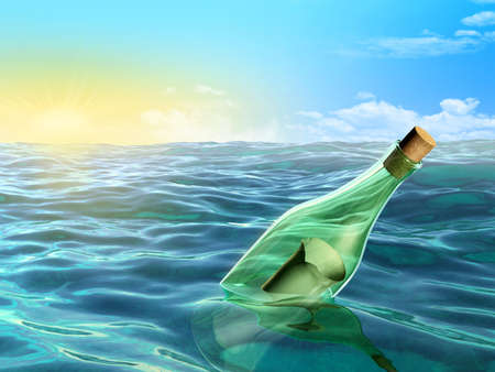 A glass bottle floating in the sea. Digital illustration. illustration