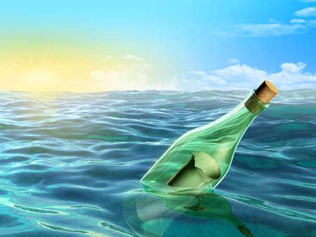 A glass bottle floating in the sea. Digital illustration. illustration