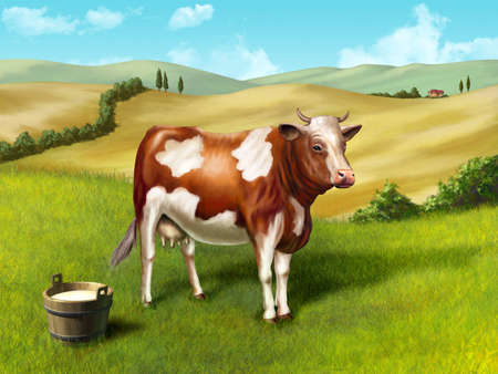 Cow and milk bucket in a rural landscape. Original digital illustration.