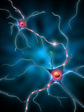 neuro: Electrochemical transmission beetween neurons. Digital illustration.
