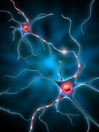 Neuronas de habló de transmisión electroquímica. Ilustración digital.
