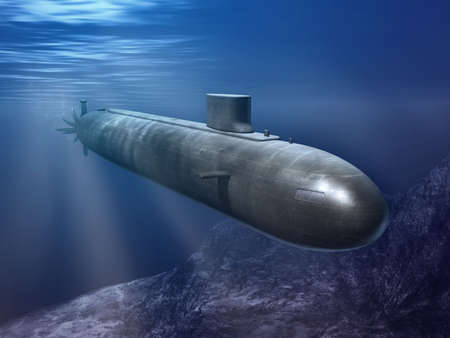 Nuclear submarine traveling underwater. Digital illustration. Stock Photo