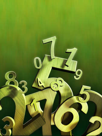 Numbers composition on a green background. Digital illustration.