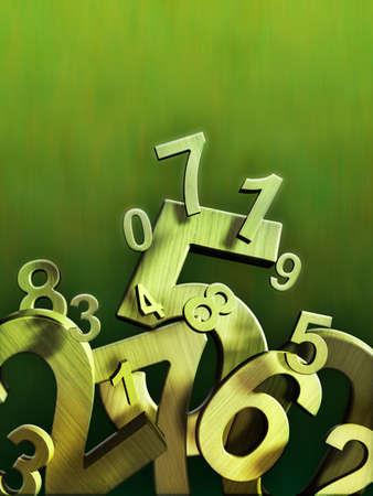 Numbers Zusammensetzung auf einem grünen Hintergrund. Digitale Illustration.