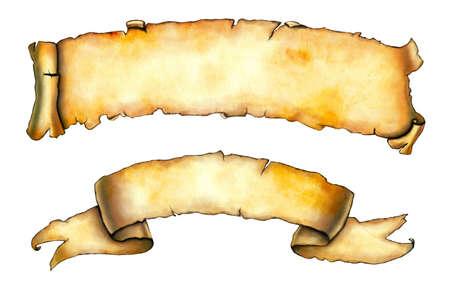 parchemin: Ancien arri�re-plan de banni�res de papier. Illustration num�rique  Banque d'images