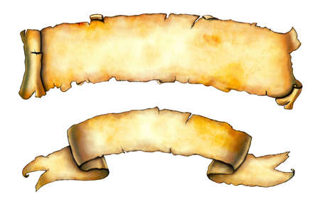 papyrus: Old paper banners background. Digital illustration