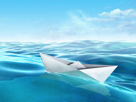 Origami paper boat floating in a sea. Digital illustration