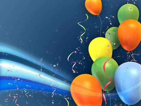 Glücklich und bunte Partei Komposition. Geeignet für Karten, Einladungen und Hintergründe. Digitale Illustration.  Lizenzfreie Bilder