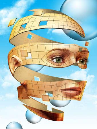 Surreal weibliche Kopf schweben über strahlend blauem Himmel. Digitale illustration