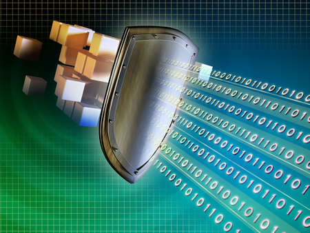 computer security: Metal shield protecting valuable data from external intrusions. Digital illustration.