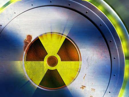 puerta de metal: S�mbolo radiactivo en una puerta de metal desgastado. Ilustraci�n digital. Foto de archivo