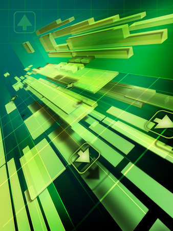 decode: High technology background showing fragmented object. Digital illustration Stock Photo