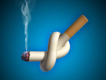 Cigarette tied in a knot. Digital illustration. Stock Illustration - 6894044