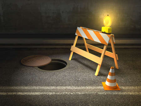 Under construction barrier and traffic cone on a city street. Digital illustration. Stock Illustration - 6894026