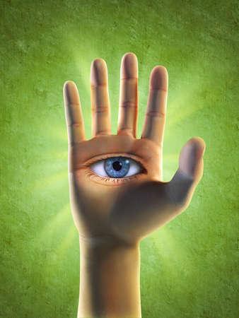 arcane: Open eye in hand. Digital illustration Stock Photo