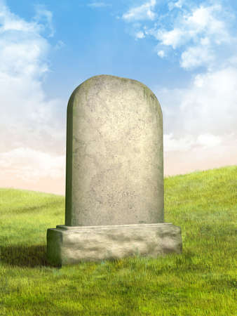 Blank tombstone in a green grass meadow. Digital illustration. Stock Photo