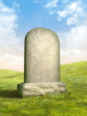 tumbas: L�pida en blanco en un prado de hierba verde. Ilustraci�n digital.