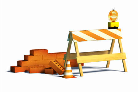 Under construction barrier and traffic cone. Digital illustration Stock Illustration - 6894063