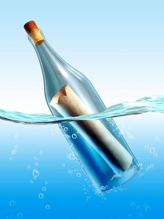 Mysterious message in a bottle. Digital illustration Stock Illustration - 6894027
