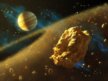 Asteroids belt in outer space, with Jupiter on background. Digital illustration. Banco de Imagens