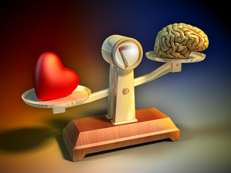 Heart and brain on a balance scale. Digital illustration.