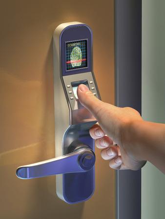Fingerprint gebruikt als identificatiemethode een deurslot. Digitale illustratie.