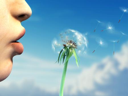 Jonge vrouw lippen blazen op een paardebloem over een mooie hemel achtergrond. Digitale illustratie.