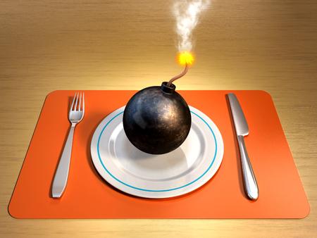 Een aangestoken bom op een plaat met vork en mes aan de zijkanten. Digitale illustratie.