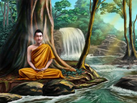 Boeddha in meditatie zitten in de buurt van een kleine beek, in een rustig bos. Digitale illustratie.