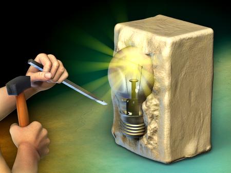 남자는 전구에 돌 블록을 조각한다. 디지털 그림입니다.