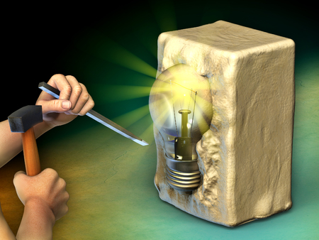 A man is sculpting a block of stone into a light bulb. Digital illustration. Фото со стока