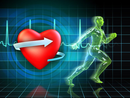 Cardio exercise increases the hearts health. Digital illustration. Фото со стока