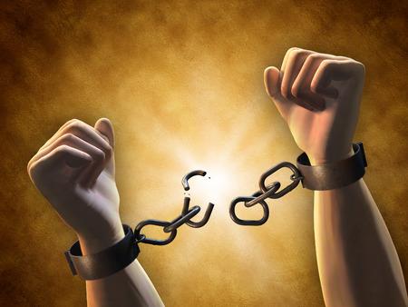 Herstellende vrijheid: een man breken van een keten. Digitale illustratie.