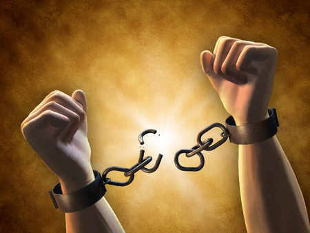 Recovering freedom: a man breaking a chain. Digital illustration.